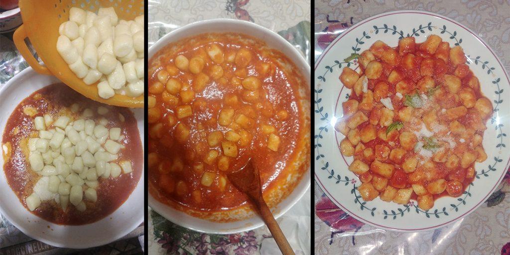 Impiattamento Gnocchi di ricotta e patate con sugo al pomodoro rustica con basilico