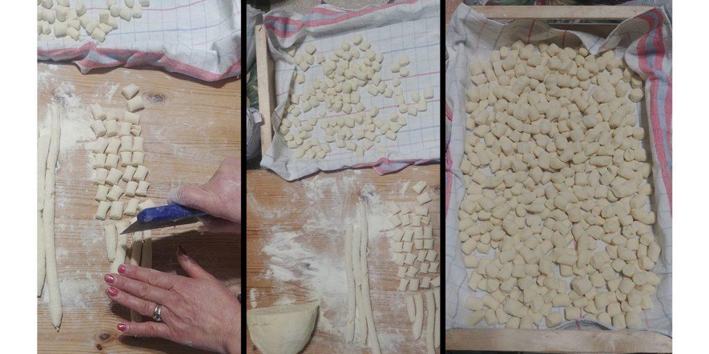ritaglio gnocchi di ricotta e patate con farina e semola